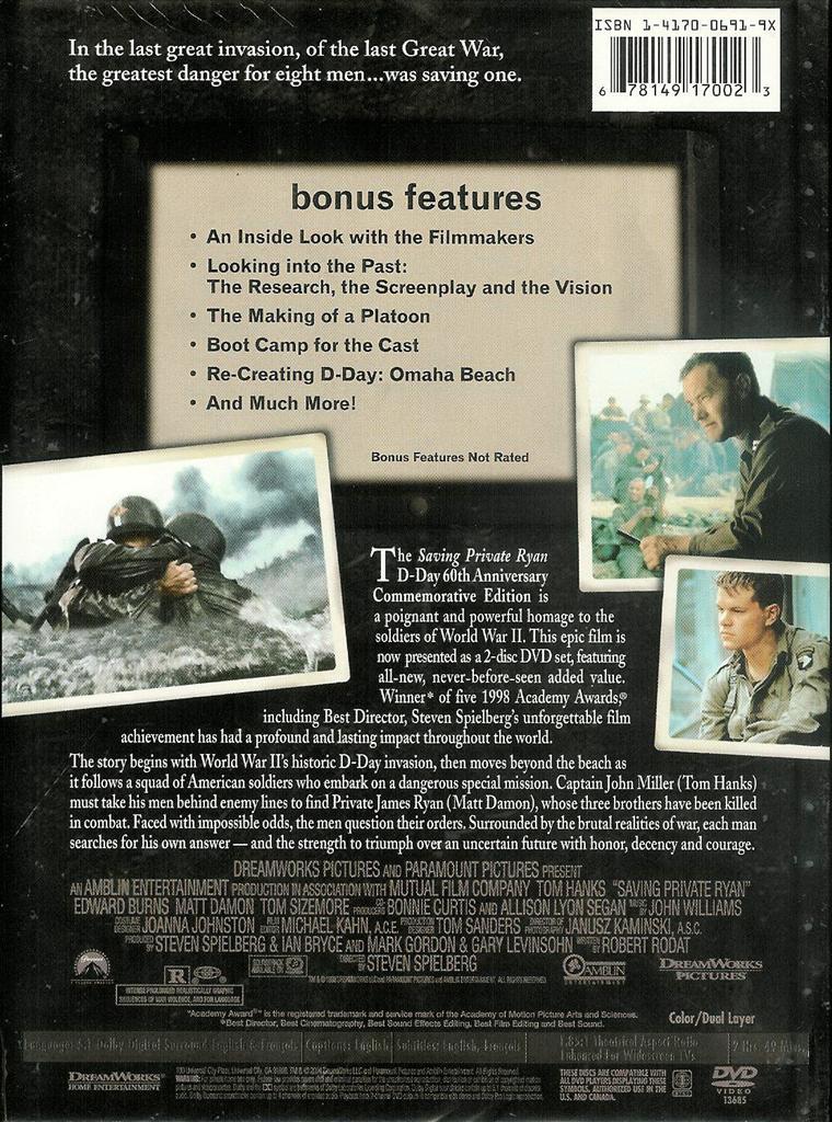 Ebay Private Listing >> Saving Private Ryan D-Day 60th Anniversary Commemorative Edition 2-Disc DVD Set 678149170023 | eBay