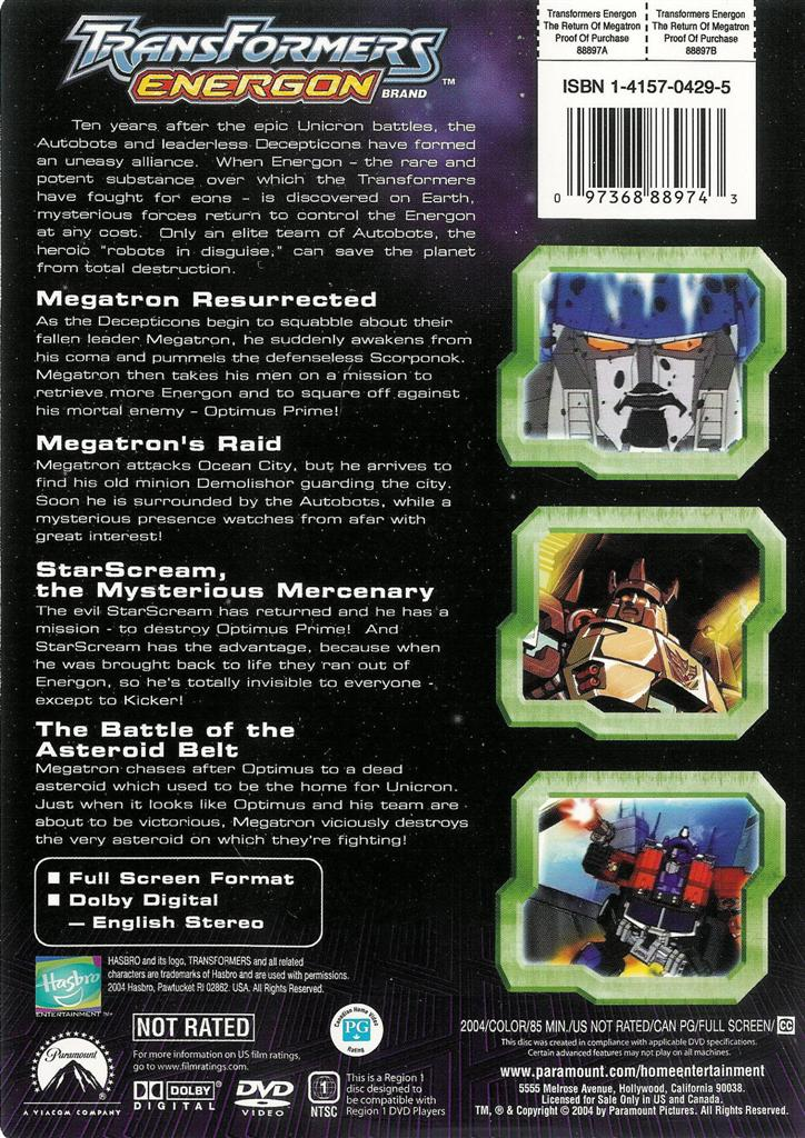 Cost Of Trailer >> Transformers Energon ~ The Return of Megatron ~ DVD ~ FREE Shipping Within USA 97368889743   eBay