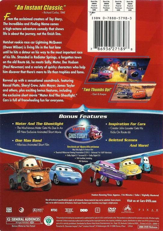 walt disney pixar cars dvd ws thx ebay. Black Bedroom Furniture Sets. Home Design Ideas