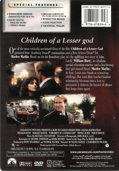 children of a lesser god essay The movie children of a lesser god can be best described as a love story that deals with barriers in basic communication it is a story based on a play about a.