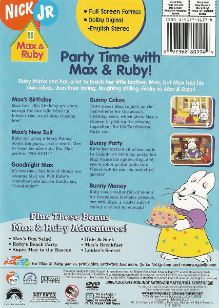 Max And Ruby Party Time With Max And Ruby Dvd 097368809949 On Popscreen