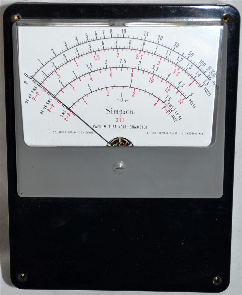 Simpson Analog Meter : Simpson model vacuum tube volt ohm meter analog panel