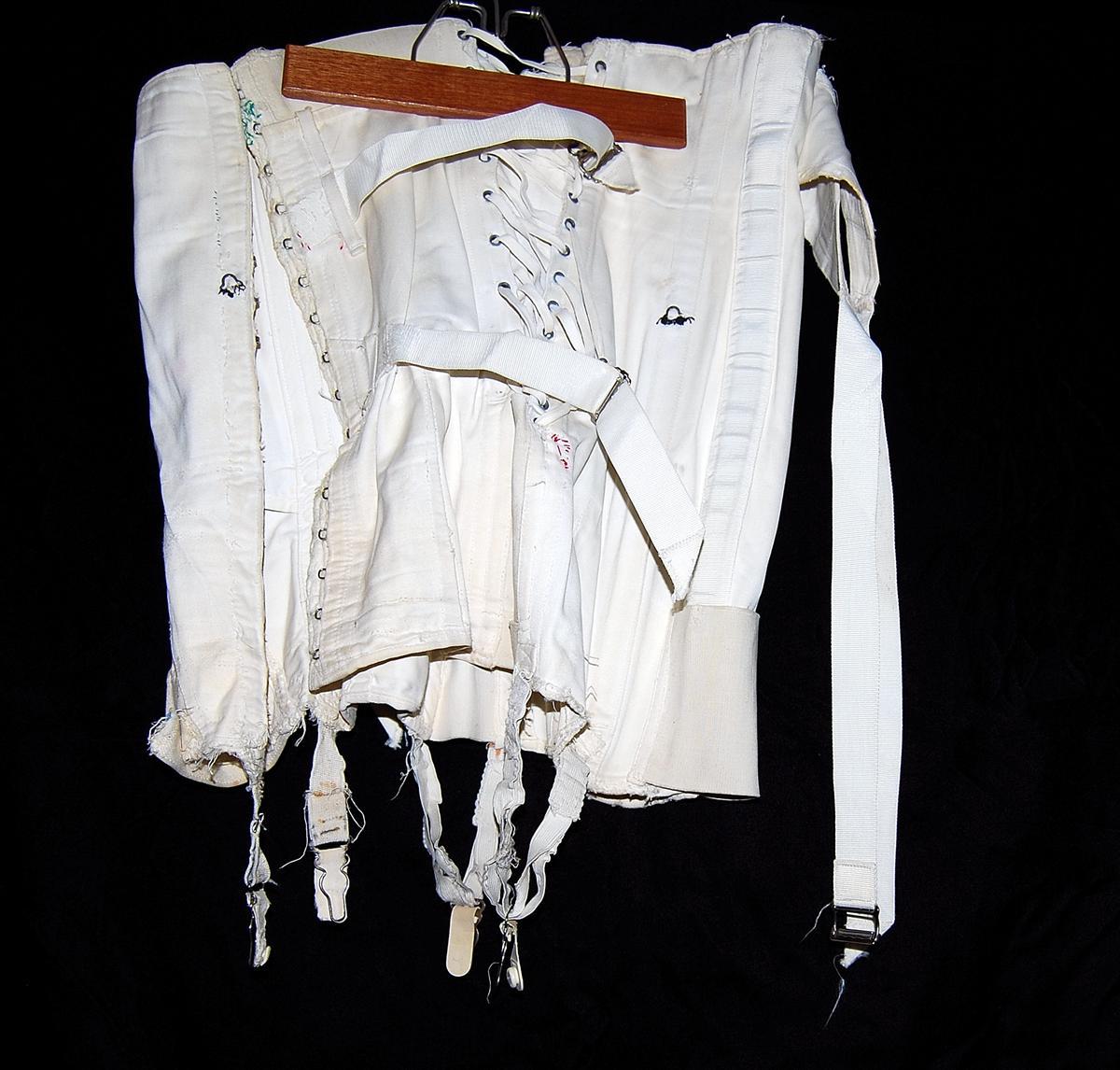Vintage Camp White Cotton Corset w/ Bones Straps Laces | eBay
